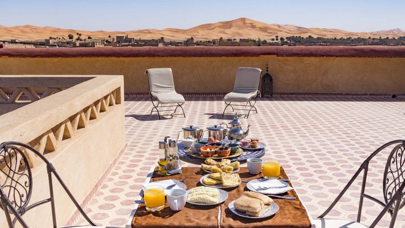 Breakfast at Riad Dar Hassan Terrace with view to Erg Chebbi
